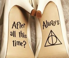 Once you've said yes to the dress, say HELL YES to these shoe decals. | 27 Things You Need To Have A Classy AF Harry Potter Wedding