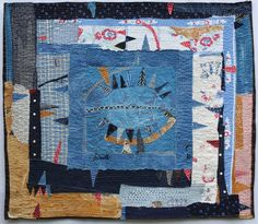 Helen Geglio, A History of Toil: Marge's Pickledish. Cotton, found table linens, hand embroidered and stitched. Art Textile, Textile Artists, Textiles, Collages, Collage Art, Raw Edge Applique, Strip Quilts, Lost Art, Yellow Painting