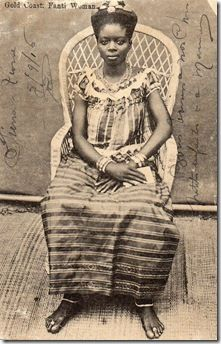 African Beauty - Fanti woman circa 1900, from Adire African Textiles blog.