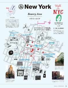 New York Bowery Map for Japanese magazine Map Design, Book Design, Graphic Design, Design Web, Map Layout, Book Layout, Map Diagram, Mapping Diagram, Visual Map