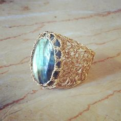 Knit wire ring with crochet labradorite cabochon