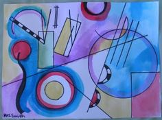 Kandinsky lesson--simple and effective  Trace shapes and lines with Sharpie  Rest done with watercolor.