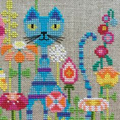 Garden Cat : Satsuma Street Jody Rice counted cross stitch patterns gardening feline embroidery by thecottageneedle Modern Cross Stitch Patterns, Counted Cross Stitch Patterns, Cross Stitch Designs, Cross Stitch Embroidery, Embroidery Patterns, Hand Embroidery, Cat Cross Stitches, Cross Stitching, Cross Stitch Animals