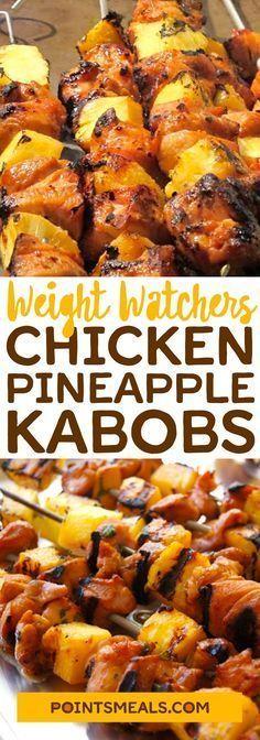 Chicken Pineapple Kabobs #weight_watchers #chicken #kabobs #pineapple