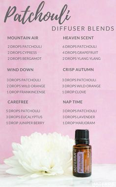 Diffuser recipes for Doterra patchouli essential oil. Uses for patchouli essential oil. Find out how Patchouli Essential Oil, Essential Oil Diffuser Blends, Essential Oil Uses, Doterra Essential Oils, Young Living Essential Oils, Oil For Headache, Headache Relief, Essential Oils For Headaches, Diffuser Recipes