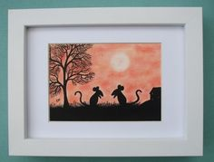 #Mouse Picture: Mouse #Art Drawing in Frame, #Mice Silhouette, Art #Gift, Mouse Art £22.00