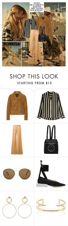 """Now my life is sweet like cinnamon like a dream I'm living in..."" by thisiswhoireallyam7 ❤ liked on Polyvore featuring Madewell, Derek Lam, Kara, Ray-Ban, Jacquemus, Maria Francesca Pepe, Jules Smith, East of India, stripes and Leather"