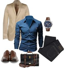 A fashion look from December 2014 featuring Michael Kors watches. Browse and shop related looks. Mode Outfits, Casual Outfits, Men Casual, Fashion Outfits, Outlet Michael Kors, Handbags Michael Kors, Sharp Dressed Man, Well Dressed Men, Look Fashion