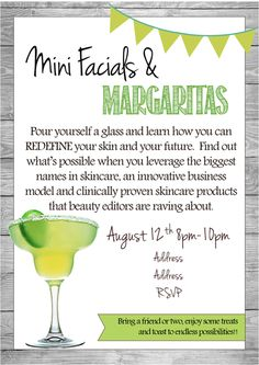 Mini Facials & Margaritas, Rodan + Fields Invite #rodanandfields