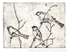 Birds // Original Etching by GerstenbergGrafik on Etsy, €79.00