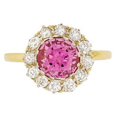 Edwardian Pink Spinel and Diamond Cluster Ring