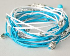 "ONE of a KIND - Bohemian Triple Wrap Beach Bracelet -  21"" Long Turquoise / White Cotton Cord w/ Silver Accents - Made in USA - Ref 560"