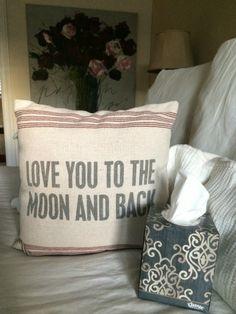 Love you to the moon and back pillow; bedroom decor ideas, home decor ideas, #KleenexStyle MommyMafia.com