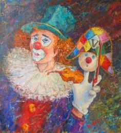 clowns et arlequins - Page 17 Halloween Clown, Image Halloween, Pierrot, Clown Paintings, Buy Paintings, Russian Painting, Russian Art, Painting Gallery, Art Gallery