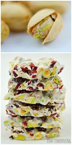 Christmas Bark Recipe using dried cranberries, pistachios, and white chocolate chips! #Christmas Dessert or treat idea | CraftyMorning.com