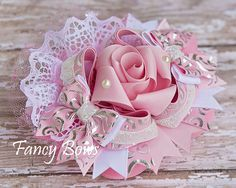 Fancy Pink Rose hair bow. https://www.facebook.com/TheFancyBows?ref_type=bookmark