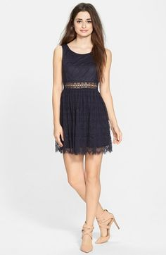 Taylor & Sage Lace Skater Dress (Juniors) available at #Nordstrom