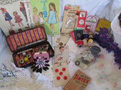 Vintage Sewing Lot- Huge Lot Singer Ruffler, Notions, Patterns, etc...