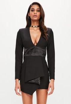 8b18c2d6e41 Peace + Love Black Long Sleeved Plunge Dress Plunge Dress
