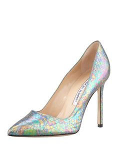 Thursday, March 14th: Manolo Blahnik BB Holographic Snake Pump, Blue, 212 872 8940                              Manolo is coming today!
