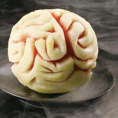 Halloween-Food ideas-Small round seedless watermelon Brain carving