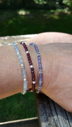 Minimalist gemstone stacking bracelets for summer! Peacefulvibesjewelry.etsy.com