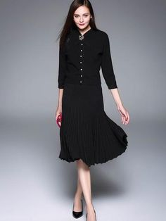 Fashion Solid Color Long Sleeve Maxi Dress Suit