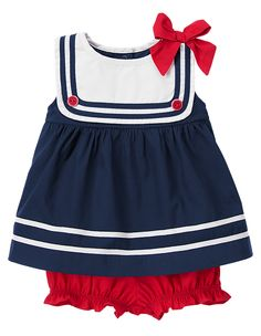 Darling little sailor! Two-piece set features a soft poplin sailor top with tipped contrast stripes on the bib and hem, bright tipped button accents and a big bow. Coordinating bloomer made from comfy poplin is finished with cute ruffle cuffs. 100% brushed cotton poplin. For sizes 0-3 to 18-24 months. Two-piece set. Top snaps in back for easy dressing. Easy pull-on bottom. Machine washable. Imported. Collection Name: Sailor Baby.