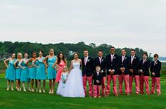 Coral and Turquoise Wedding.Vineyard Vines Wedding. Colleton River Plantation. Bluffton South Carolina. Bridesmaids. Groomsmen. Coral Turquoise. Low Country, Preppy, Southern, Classy.