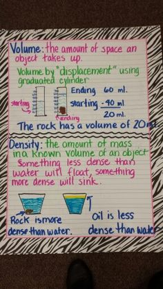 Volume, displacement, density anchor chart for science.