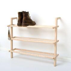 1 Leaning shelf Gaston shoe rack made of ash wood