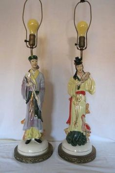 Pair Mid Century Asian Chinese Figurine Lamps by DecatiqueStudios Chinese Figurines, Chinese Opera, Shower Gifts, Candle Sconces, Decorative Bells, Light Up, Wall Lights, Mid Century, Asian