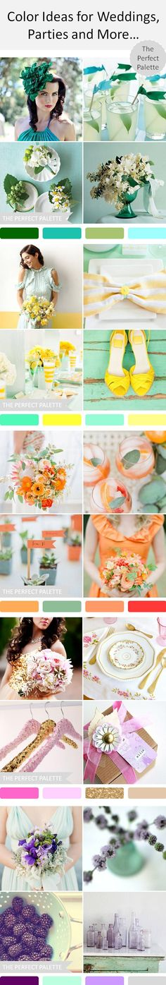 Color ideas for weddings, parties and more.