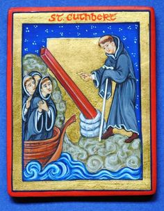 Icon of Saint Cuthbert [St Cuthbert miraculously discovering a roof beam for his church in the waves of the ocean] painted by Marchela Dimitrova