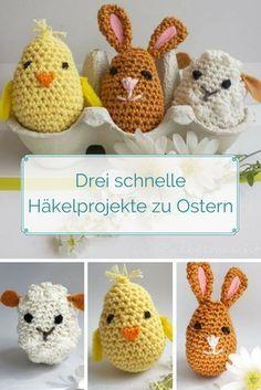 Crochet Easter decoration or gift: chick, rabbit and sheep in egg shape. - Crochet Easter decoration or gift: chick, rabbit and sheep in egg shape. Free instructions on the b - Beginner Knitting Projects, Knitting For Beginners, Crochet Projects, Beginner Crochet, Wire Crochet, Crochet Hooks, Knitting Patterns, Crochet Patterns, Easter Crochet