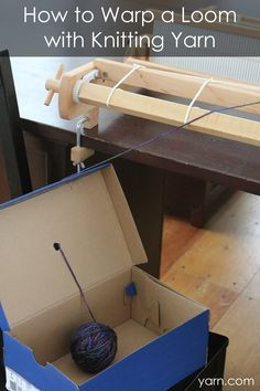 How to Warp a Loom with Knitting Yarn - great tip for rigid heddle weavers Easy Needle work tips & tricks also about Needlework stitches Click visit link for more details - Needlework tips & tricks Inkle Weaving, Inkle Loom, Weaving Tools, Tablet Weaving, Weaving Projects, Weaving Art, Weaving Patterns, Tapestry Weaving, Hand Weaving