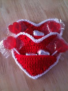 Crochet Heart Candy Pouch Red by GoingCrafty on Etsy, $8.00