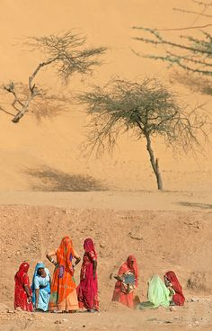 Women of the Thar desert, India- met some young girls working on the highway- each girl had 5 metres to dig a metre deep. Stopped for a picture and she stole my contact lens case