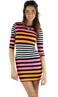 Neon Stripes Bodycon Dress - Pink/Orange | .H.C.B.