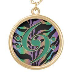 Music Green Bass Clef on Rainbow Zebra Necklace
