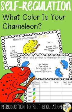 Introduce your elementary students to self-regulation with these cute chameleons! Elementary School Counseling, School Social Work, School Counselor, Elementary Schools, Social Skills Activities, Counseling Activities, Therapy Activities, Career Counseling, Therapy Ideas