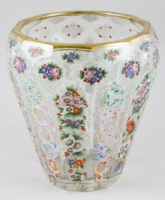 Moser Enameled Glass Vase - German   c.19th Century