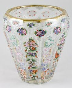"19th century German Moser enameled glass vase, 8 1/4"" x 7 1/2""."