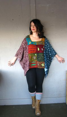 Bohemian one size plus size M L XL upcycled clothing Eco poncho Kaftan Funky top artsy recycled urban wrap Rustic Shabby Cowgirl Sewing Clothes, Diy Clothes, Vetement Hippie Chic, Altered Couture, Refashion, Diy Fashion, Shabby Chic, Plus Size, My Style