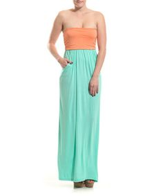 Another great find on #zulily! Apricot & Mint Color Block Strapless Maxi Dress #zulilyfinds