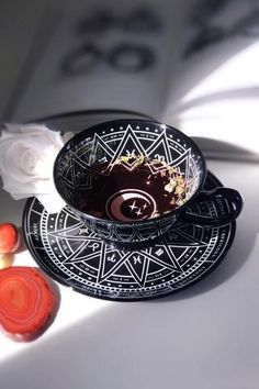 Killstar Zodiac Tea Set NEW Saucer Black Goth Witch Moon Constellations Ceramic Royal Albert, Tea Cup Set, Tea Cup Saucer, Tea Sets, Cappuccino Tassen, Cute Cups, Witch Aesthetic, In China, Diy Bedroom Decor