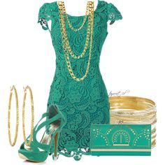 $143.5- Teal and Gold, created by tayswift-1d on Polyvore