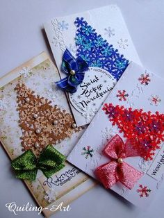 I have a couple of snowflake punches. Christmas Paper Crafts, Homemade Christmas Cards, Christmas Cards To Make, Christmas Tag, Christmas Projects, Homemade Cards, Handmade Christmas, Holiday Cards, Christmas Decorations