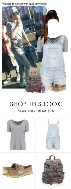 """""""Walking to school with Niall"""" by kateremington-1 ❤ liked on Polyvore featuring Boohoo, Krystal, Sperry and Aéropostale"""