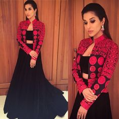 poised with grace & glamour in velvet skirt with trail and threadwork embroidered jacket from evening wear collection Kurti Designs Party Wear, Lehenga Designs, Saree Blouse Designs, Indian Wedding Outfits, Indian Outfits, Western Dresses, Indian Dresses, Indian Designer Outfits, Designer Dresses